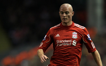 LIVERPOOL, ENGLAND - NOVEMBER 20:  Paul Konchesky of Liverpool in action during the Barclays Premier League match between Liverpool and West Ham United at Anfield on November 20, 2010 in Liverpool, England.  (Photo by Alex Livesey/Getty Images)