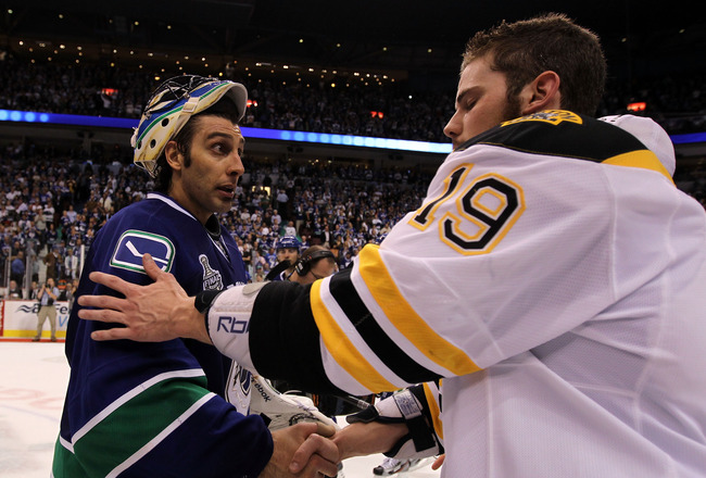VANCOUVER, BC - JUNE 15:  Roberto Luongo (L) #1 of the Vancouver Canucks congratulates Tyler Seguin #19 of the Boston Bruins after defeating the Vancouver Canucks in Game Seven of the 2011 NHL Stanley Cup Final at Rogers Arena on June 15, 2011 in Vancouve