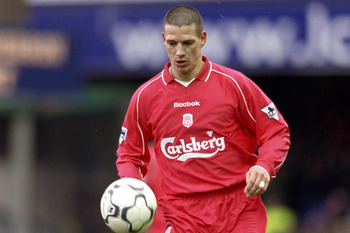3 Mar 2001:  Christian Ziege of Liverpool runs with the ball during the FA Carling Premiership match against Leicester City played at Filbert Street, in Leicester, England. Leicester City won the match 2-0. \ Mandatory Credit: Clive Brunskill /Allsport