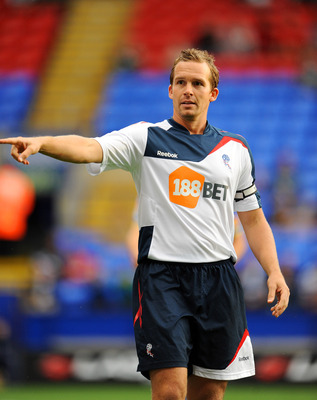 BOLTON, UNITED KINGDOM - AUGUST 05: Kevin Davies captain of Bolton in action during the pre season friendly match between Bolton Wanderers and Levante at the Reebok Stadium on August 05, 2011 in Bolton, England. (Photo by Clint Hughes/Getty Images)