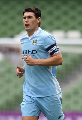 DUBLIN, IRELAND - JULY 30:  Gareth Barry of Manchester City looks on during the Dublin Super Cup match between Manchester City and Airtricity XI at Aviva Stadium on July 30, 2011 in Dublin, Ireland.  (Photo by David Rogers/Getty Images)