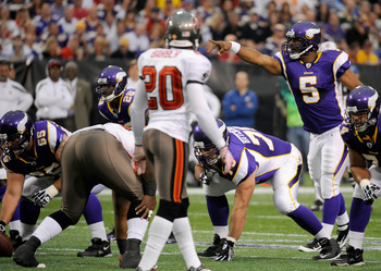 MINNEAPOLIS, MN - SEPTEMBER 18: Donovan McNabb #5 of the Minnesota Vikings calls a play against the Tampa Bay Buccaneers on September 18, 2011 at the Hubert H. Humphrey Metrodome in Minneapolis, Minnesota. (Photo by Hannah Foslien/Getty Images)