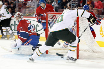 MONTREAL, CANADA - SEPTEMBER 20:  Brenden Morrow #10 of the Dallas Stars scores a first period goal on Carey Price #31 of the Montreal Canadiens during the NHL pre-season game at the Bell Centre on September 20, 2011 in Montreal, Quebec, Canada.  (Photo b