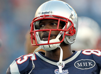 FOXBORO, MA - AUGUST 11:  Chad Ochocinco #85 of the New England Patriots waits for the start of a game against the Jacksonville Jaguars at Gillette Stadium on August 11, 2011 in Foxboro, Massachusetts. (Photo by Jim Rogash/Getty Images)