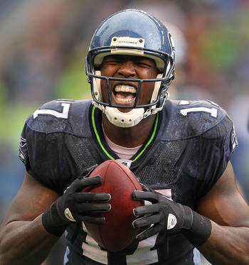 SEATTLE - OCTOBER 24:  Wide receiver Mike Williams #17 of the Seattle Seahawks reacts after making a catch against the Arizona Cardinals at Qwest Field on October 24, 2010 in Seattle, Washington. The Seahawks defeated the Cardinals 22-10. (Photo by Otto G
