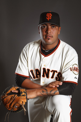 SCOTTSDALE, AZ - FEBRUARY 23:  Hector Sanchez #61 of the San Francisco Giants poses for a portrait during media photo day at Scottsdale Stadium on February 23, 2011 in Scottsdale, Arizona.  (Photo by Ezra Shaw/Getty Images)
