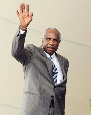 COOPERSTOWN, NY - JULY 24:  Hall of Famer Frank Robinson is introduced at Clark Sports Center during the Baseball Hall of Fame induction ceremony on July 24, 2011 in Cooperstown, New York.  (Photo by Jim McIsaac/Getty Images)