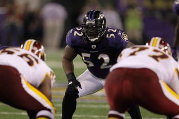 BALTIMORE, MD - AUGUST 25: Ray Lewis #52 of the Baltimore Ravens lines up against the Washington Redskins during a preseason game at M&T Bank Stadium on August 25, 2011 in Baltimore, Maryland.  (Photo by Rob Carr/Getty Images)