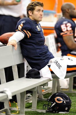 NEW ORLEANS, LA - SEPTEMBER 18:  Jay Cutler #6 of the Chicago Bears sits on the bench during the game against the New Orleans Saints at the Louisiana Superdome on September 18, 2011 in New Orleans, Louisiana.  The Saints defeated the Bears 30-13.  (Photo