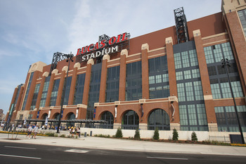 INDIANAPOLIS - AUGUST 24: A general view of the exterior of Lucas Oil Stadium, the new home of the Indianapolis Colts, before a pre-season game between the Colts and the Buffalo Bills on August 24, 2008 at Lucas Oil Stadium in Indianapolis, Indiana. (Phot