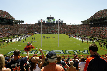 AUBURN, AL - SEPTEMBER 10: A general view of the stadium during a game between the Auburn Tigers and Mississippi State Bulldogs on September 10, 2011 at Jordan-Hare Stadium in Auburn, Alabama. (Photo by Butch Dill/Getty Images)