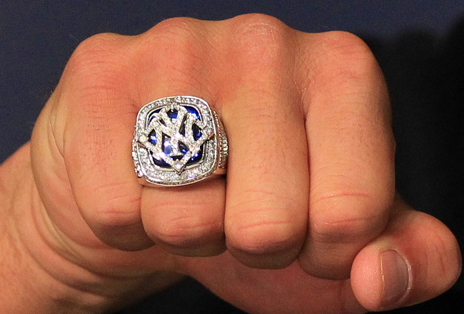 NEW YORK - APRIL 13:  A detail of the World Series ring worn by Alex Rodriguez #13 of the New York Yankees is seen during a press conference after the Yankees home opener at Yankee Stadium on April 13, 2010 in the Bronx borough of New York City.  (Photo b