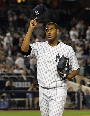 NEW YORK, NY - SEPTEMBER 20:  Ivan Nova #47 of the New York Yankees tips his cap as he leaves the game in the eighth inning against the Tampa Bay Rays on September 20, 2011 at Yankee Stadium in the Bronx borough of New York City.  (Photo by Jim McIsaac/Ge