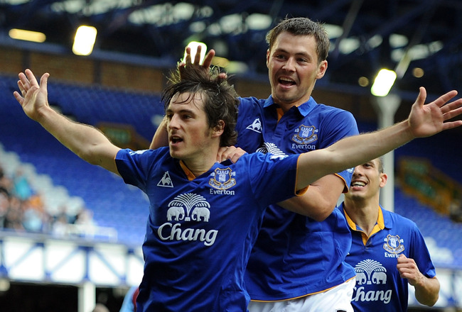 LIVERPOOL, ENGLAND - SEPTEMBER 10:  Leighton Baines of Everton celebrates scoring his team's second goal with team-mate Diniyar Bilyaletdinov (R) during the Barclays Premier League match between Everton and Aston Villa at Goodison Park on September 10, 20