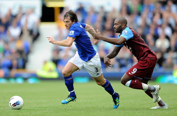 LIVERPOOL, ENGLAND - SEPTEMBER 10:  Leighton Baines of Everton competes with Darren Bent of Aston Villa during the Barclays Premier League match between Everton and Aston Villa at Goodison Park on September 10, 2011 in Liverpool, England.  (Photo by Chris