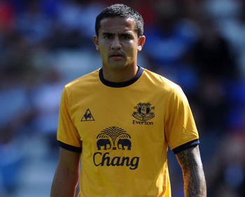 BIRMINGHAM, ENGLAND - JULY 30:  Tim Cahill of Everton looks on during the pre season friendly between Birmingham City and Everton at St Andrews (stadium) on July 30, 2011 in Birmingham, England.  (Photo by Chris Brunskill/Getty Images)