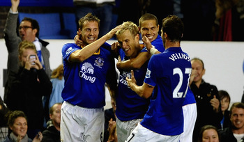 LIVERPOOL, ENGLAND - SEPTEMBER 21:  Phil Neville of Everton is congratulated by Phil Jagielka on scoring the second goal during the Carling Cup Third Round match between Everton and West Bromwich Albion at Goodison Park on September 21, 2011 in Liverpool,