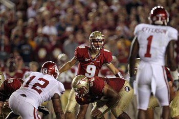 TALLAHASSEE, FL - SEPTEMBER 17:  Clint Trickett #9 of the Florida State Seminoles at Doak Campbell Stadium on September 17, 2011 in Tallahassee, Florida.  (Photo by Ronald Martinez/Getty Images)