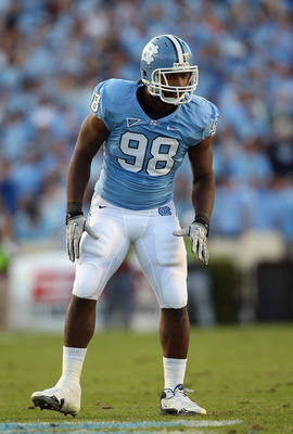 CHAPEL HILL, NC - NOVEMBER 13:  Donte Paige-Moss #98 of the North Carolina Tar Heels against the Virginia Tech Hokies during their game at Kenan Stadium on November 13, 2010 in Chapel Hill, North Carolina.  (Photo by Streeter Lecka/Getty Images)