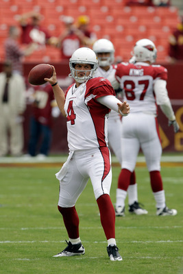 LANDOVER, MD - SEPTEMBER 18:  Quarterback  Kevin Kolb #4 of the Arizona Cardinals warms up prior to the start of their game against the Washington Redskins at FedExField on September 18, 2011 in Landover, Maryland.  (Photo by Rob Carr/Getty Images)