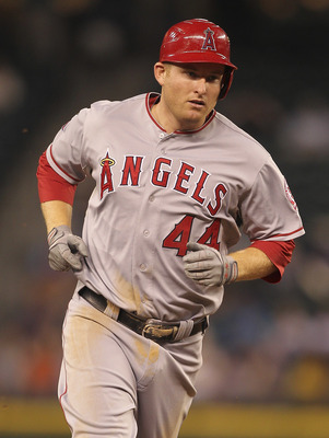 SEATTLE - AUGUST 29:  Mark Trumbo #44 of the Los Angeles Angels of Anaheim runs the bases after hitting a two-run homer in the fourth inning against the Seattle Mariners at Safeco Field on August 29, 2011 in Seattle, Washington. (Photo by Otto Greule Jr/G