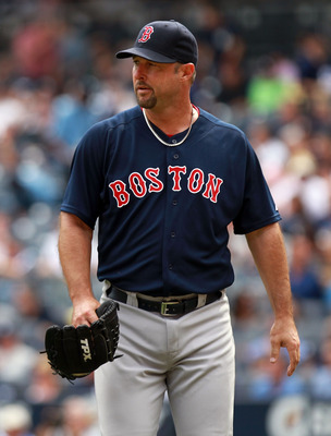 NEW YORK, NY - SEPTEMBER 25:  Tim Wakefield #49 of the Boston Red Sox walks to the dugout against the New York Yankees on September 25, 2011 at Yankee Stadium in the Bronx borough of New York City.  (Photo by Nick Laham/Getty Images)