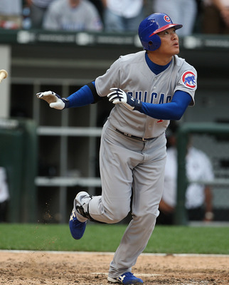 CHICAGO - JUNE 27:  Kosuke Fukodome #1 of the Chicago Cubs flies out for the final out of the game against the Chicago White Sox at U.S. Cellular Field on June 27, 2008 in Chicago, Illinois. The White Sox won 10-3. (Photo by Jonathan Daniel/Getty Images)