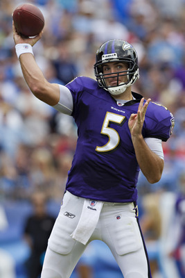NASHVILLE, TN - SEPTEMBER 18:   Joe Flacco #5 of the Baltimore Ravens throws a pass against the Tennessee Titans at the LP Field on September 18, 2011 in Nashville, Tennessee.  (Photo by Wesley Hitt/Getty Images)