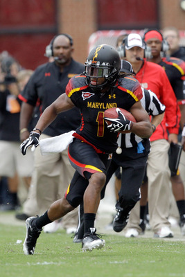 COLLEGE PARK, MD - SEPTEMBER 17: Wide receiver Tony Logan #1 of the Maryland Terrapins carries the ball after a reception against the West Virginia Mountaineers at Byrd Stadium on September 17, 2011 in College Park, Maryland.  (Photo by Rob Carr/Getty Ima