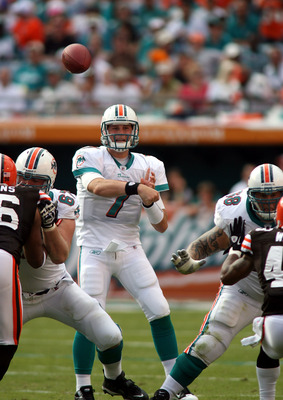 MIAMI, FL - DECEMBER 05:  Quarterback Chad henne #7 of the Miami Dolphins scrambles against the Cleveland Browns while sliding at Sun Life Stadium on December 5, 2010 in Miami, Florida. Cleveland defeated Miami 13-10.  (Photo by Marc Serota/Getty Images)