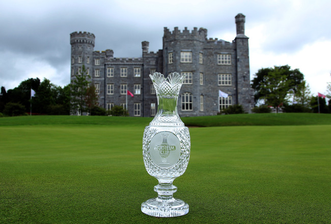 DUNSANY, CO MEATH - AUGUST 03:  The Solheim Cup Trophy on the 18th green during the captain's photocall as a preview for the 2011 Solheim Cup at Killeen Castle on August 3, 2010 in Dunsany, Co Meath, Ireland.  (Photo by David Cannon/Getty Images)