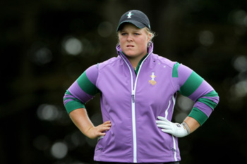 DUNSHAUGHLIN, IRELAND - SEPTEMBER 22:  Caroline Hedwall of Europe looks on during a practice round prior to the 2011 Solheim Cup at Killeen Castle Golf Club on September 22, 2011 in Dunshaughlin, County Meath, Ireland.  (Photo by Andy Lyons/Getty Images)