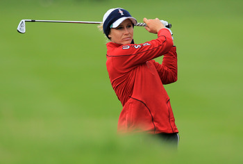 DUNSHAUGHLIN, IRELAND - SEPTEMBER 23:  Ryann O'Toole of the USA hits an approach during the afternoon fourballs on day one of the 2011 Solheim Cup at Killeen Castle Golf Club on September 23, 2011 in Dunshaughlin, County Meath, Ireland.  (Photo by David C