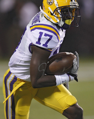 LSU cornerback Morris Claiborne after one of his two interceptions