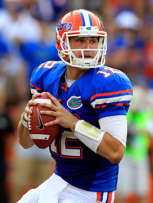 Florida quarterback John Brantley leading the Gators to a victory over Tennessee