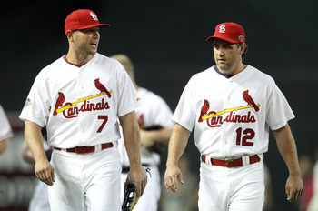 PHOENIX, AZ - JULY 12:  National League All-Star Matt Holliday #7 of the St. Louis Cardinals and National League All-Star Lance Berkman #12 of the St. Louis Cardinals talk in the field during batting practice before the start of the 82nd MLB All-Star Game