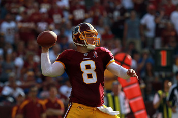 LANDOVER, MD - SEPTEMBER 11:  Rex Grossman #8 of the Washington Redskins at FedExField on September 11, 2011 in Landover, Maryland.  (Photo by Ronald Martinez/Getty Images)