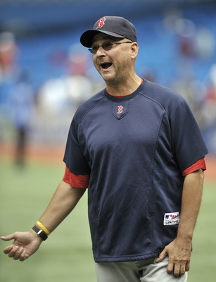 TORONTO, CANADA - SEPTEMBER 5:  Manager Terry Francona of the Boston Red Sox looks on during batting practice prior to MLB game action against the Toronto Blue Jays September 5, 2011 at Rogers Centre in Toronto, Ontario, Canada. (Photo by Brad White/Getty