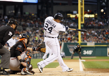Detroit, MI - SEPTEMBER 23:  Miguel Cabrera #24 of the Detroit Tigers hits a two-run home run off of Alfredo Simon of the Baltimore Orioles at Comerica Park on September 23, 2011 in Detroit, Michigan.  (Photo by Jorge Lemus/Getty Images)