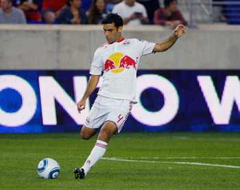 HARRISON, NJ - AUGUST 13: Rafa Marquez #4 of the New York Red Bulls plays the ball against the Chicago Fire during the game at Red Bull Arena on August 13, 2011 in Harrison, New Jersey. (Photo by Andy Marlin/Getty Images)