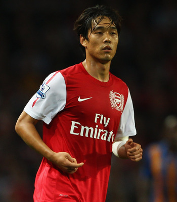 LONDON, ENGLAND - SEPTEMBER 20:  Park Chu-Young of Arsenal in action during the Carling Cup Third Round match between Arsenal and Shrewsbury Town at Emirates Stadium on September 20, 2011 in London, England.  (Photo by Julian Finney/Getty Images)