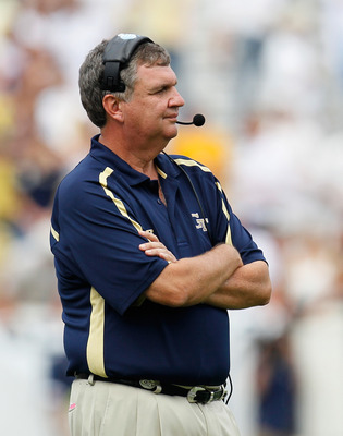 ATLANTA, GA - SEPTEMBER 17:  Head coach Paul Johnson of the Georgia Tech Yellow Jackets watches during play against the Kansas Jayhawks at Bobby Dodd Stadium on September 17, 2011 in Atlanta, Georgia.  (Photo by Kevin C. Cox/Getty Images)