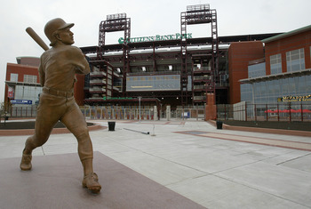 PHILADELPHIA - APRIL 12:  A statue of third baseman Mike Schmidt #20 of the Philadelphia Phillies is on the grounds surrounding the newly constructed 43,500-seat Citizens Bank Park, before the Philadelphia Phillies home opener, which happened to be agains
