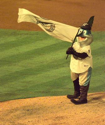 18 Oct 1997:  Mascot Billy the Marlin of the Florida Marlins waves a flag at the end of the game against the Cleveland Indians during Game 1 of the World Series at Pro Player Stadium in Miami, Florida. Mandatory Credit: Brian Bahr/ALLSPORT