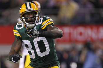 ARLINGTON, TX - FEBRUARY 06:  Donald Driver #80 of the Green Bay Packers reacts after catching a 24 yard pass against the Pittsburgh Steelers during the first quarter of Super Bowl XLV at Cowboys Stadium on February 6, 2011 in Arlington, Texas.  (Photo by