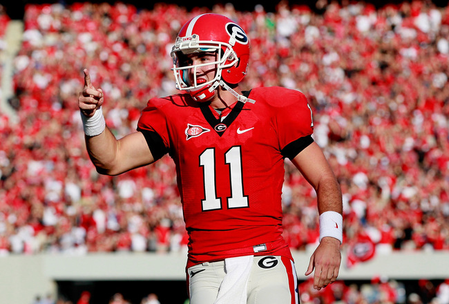 ATHENS, GA - SEPTEMBER 10:  Aaron Murray #11 of the Georgia Bulldogs reacts after passing for a touchdown against the South Carolina Gamecocks at Sanford Stadium on September 10, 2011 in Athens, Georgia.  (Photo by Kevin C. Cox/Getty Images)