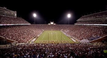NORMAN, OK - SEPTEMBER 3:  General view from the south end of the Gaylord Family-Oklahoma Memorial Stadium during the Oklahoma Sooners versus Tulsa Hurricanes game September 3, 2011 in Norman, Oklahoma.  Oklahoma defeated Tulsa 27-20.  (Photo by Brett Dee