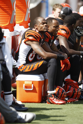 CINCINNATI, OH - SEPTEMBER 25:  Jerome Simpson #89 of the Cincinnati Bengals watches his teammates during the game against the San Francisco 49ers on September 25, 2011 at Paul Brown Stadium in Cincinnati, Ohio.  The 49ers defeated the Bengals 13-8.  (Pho