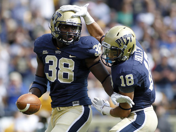 PITTSBURGH, PA - SEPTEMBER 24:  Greg Williams #38 of the Pittsburgh Panthers celebrates after recovering a fumble against the Notre Dame Fighting Irish during the game on September 24, 2011 at Heinz Field in Pittsburgh, Pennsylvania.  (Photo by Justin K.