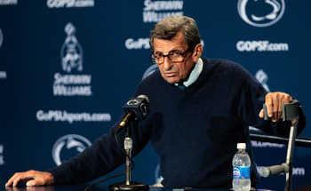 STATE COLLEGE, PA - SEPTEMBER 10: Head coach Joe Paterno talks with the media following thier 27-11 loss to the Alabama Crimson Tide at Beaver Stadium on September 10, 2011 in State College, Pennsylvania.  (Photo by Rob Carr/Getty Images)